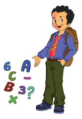 Boy Student Learning Math, illustration