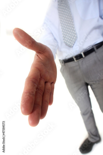 Man handing out hand