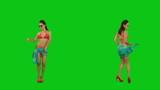 Beautiful girl in pareo dancing against green screen poster