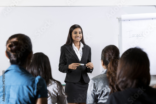 Indian businesswoman giving a lecture
