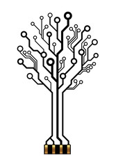 Vector technology tree for logo or icon