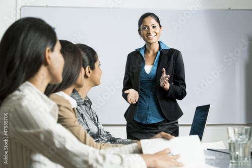 Indian business woman doing a presentation.