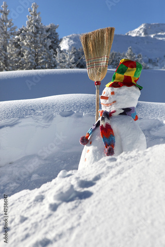 Snowman on a mountain