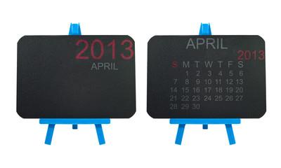 2013 Calendar on blackboard background