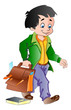 Boy with a School Bag, illustration