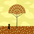 lonely cat and tree, illustration