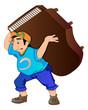 Man Lifting a Piano, illustration