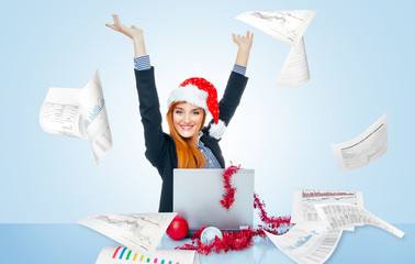 Happy christmas business woman celebrate successful year