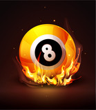 Vector burning billiard ball on a dark background