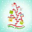 vector illustration of funny character forming Christmas tree
