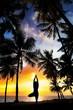 Yoga tree pose around palm trees