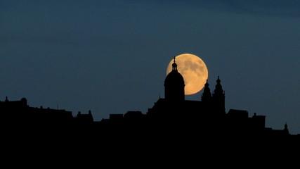 Nederland  Amsterdam skyline moonrise