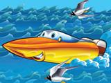 Happy cartoon motorboat