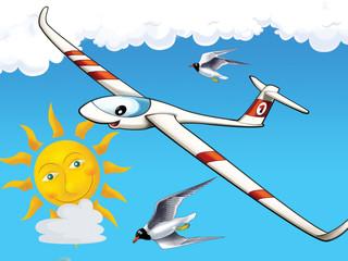 Happy cartoon glider