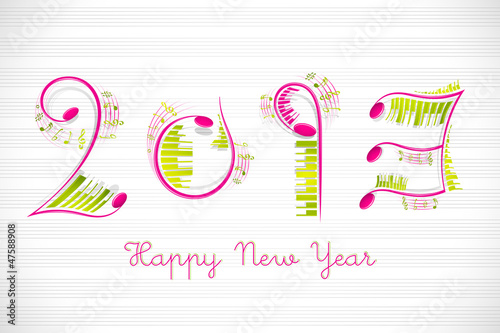vector illustration of musical Happy New Year with music notes