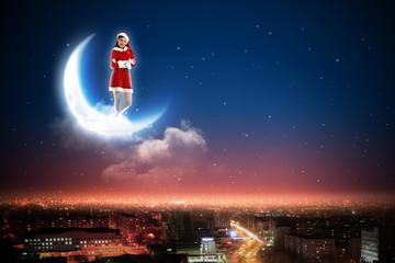 Santa girl on the moon