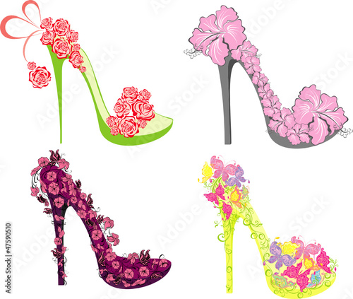 Collection of fashion high heels shoes