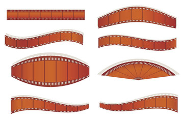 set of photographic filmstrips vector illustration