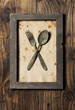 Fork and spoon, framed, old style