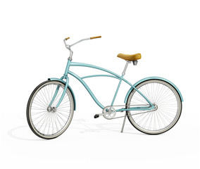 Isolated vintage turqoise bicycle, leather seat