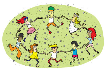 Young People Dancing in a Circle on Green Grass Field