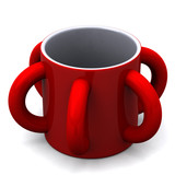 Red mug with many handles, 3d