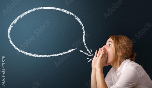 Leinwanddruck Bild Young woman with modern speech bubble