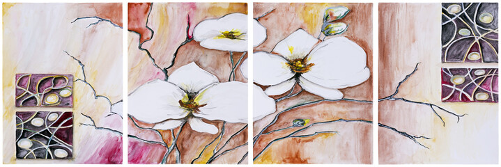 Panel of four paintings - Blooming cherry tree