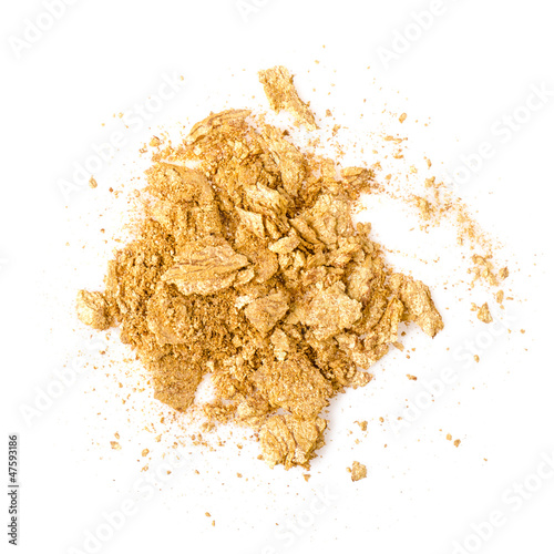 Crushed eyeshadow isolated on white background