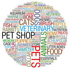 pet shop word collage