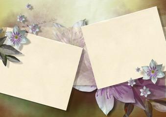 クレマチスとカード(黄色系)