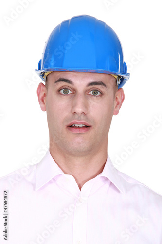 Portrait of a stunned engineer