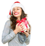 Happy Young Woman With Christmas Gift Box