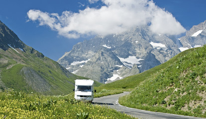 French Alps,road with motorhome, RV. France.