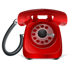 Red retro phone icon. Isolated on white