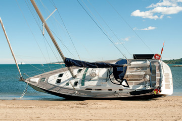 Sailing Yacht on Beach 1