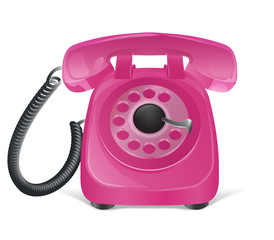 Pink retro phone icon. Isolated on white