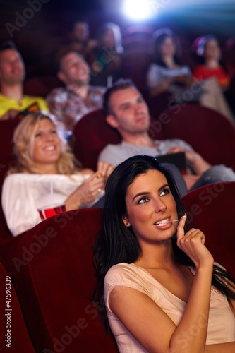 Pretty girl in multiplex movie theater
