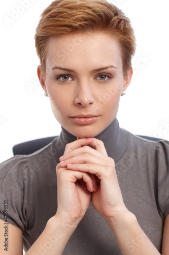 Closeup portrait of confident young businesswoman