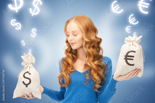 woman with euro and dollar bags