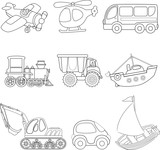 Cartoon transport. Coloring book.