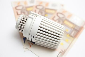 Heizregler mit Geldscheinen