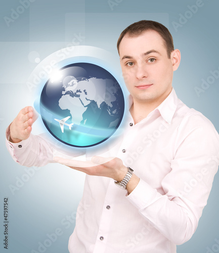 earth globe on the palms of his hands