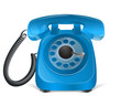 Blue retro phone icon. Isolated on white