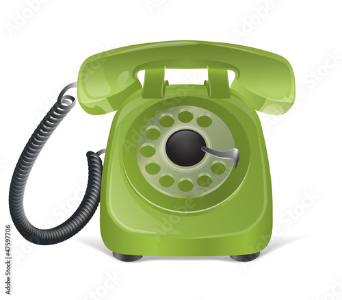 Green retro phone icon. Isolated on white