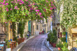 Leinwanddruck Bild - Traditional houses in Plaka area under Acropolis ,Athens,Greece