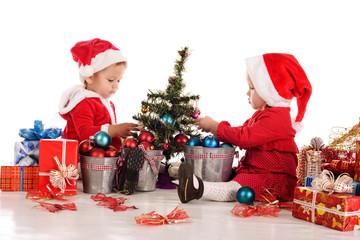 two busy santa helpers