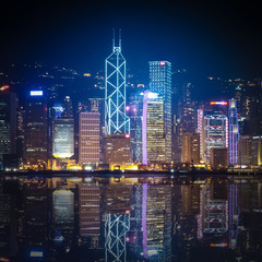 Hong Kong at night with reflections