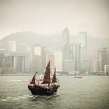 chinese traditional wooden sailboat sailing