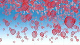 red balloons fly away